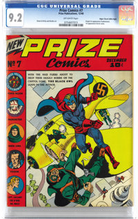 Prize Comics #7 Mile High pedigree (Prize, 1940) CGC NM- 9.2 Off-white pages. This is the only unrestored copy graded ab...