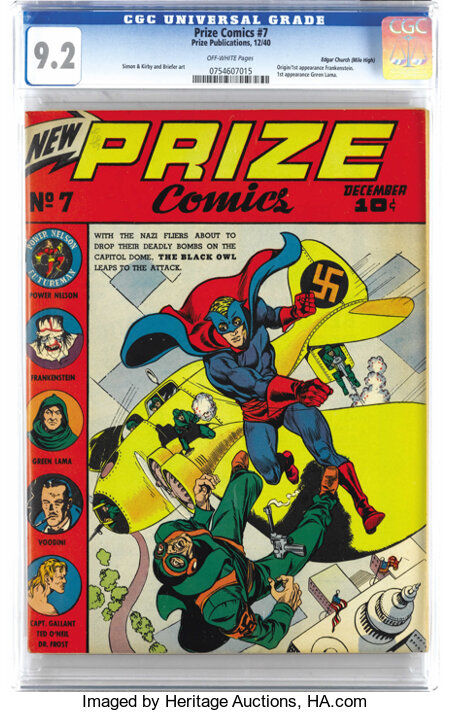 Prize Comics #7 Mile High pedigree (Prize, 1940) CGC NM- 9.2 Off-white pages. This is the only unrestored copy graded above ...