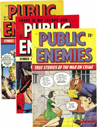 Public Enemies Mile High pedigree Group (D.S. Publishing, 1948-49). Issues #3 (VF/NM), #6 (NM), #7 (a beautiful NM+), an...