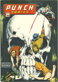 Punch Comics #12 Mile High pedigree (Chesler, 1945) Condition: FN+. This skull cover's a true classic! So say we, so say...