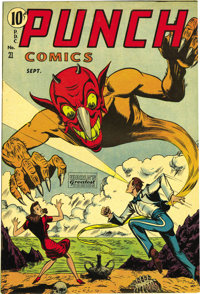 Punch Comics #21 Mile High pedigree (Chesler, 1947) Condition: FN-. Paul Gattuso cover. Rocketman story features hypoder...
