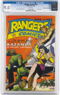 Golden Age (1938-1955):War, Rangers Comics #23 Mile High pedigree (Fiction House, 1945) CGCVF/NM 9.0 White pages. The Japanese just can't get a break o...