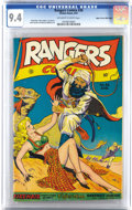 Golden Age (1938-1955):War, Rangers Comics #36 Mile High pedigree (Fiction House, 1947) CGC NM9.4 Off-white to white pages. A desert damsel in distress...