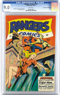 Rangers Comics #37 Mile High pedigree (Fiction House, 1947) CGC VF/NM 9.0 White pages. Beautiful page quality on this co...