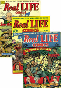 Real Life Comics #28, 40, and 51 Mile High pedigree Group (Nedor Publications, 1945-49). A double-cover copy is the high...