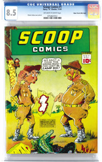 Scoop Comics #1 Mile High pedigree (Chesler, 1941) CGC VF+ 8.5 Off-white to white pages. Superheroes abound in this issu...