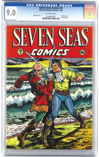 Seven Seas Comics #2 (Universal Phoenix Feature, 1946) CGC VF/NM 9.0 Off-white pages. This issue boasts Matt Baker art...