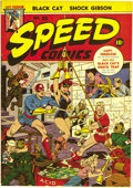 Golden Age (1938-1955):Superhero, Speed Comics #35 Mile High pedigree (Harvey, 1944) Condition: NM-. This issue's bondage cover by Alex Schomburg features the...