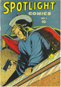 Golden Age (1938-1955):Adventure, Spotlight Comics #1 Mile High pedigree (Chesler, 1944) Condition: NM-. You've ogled this one in Gerber's Photo-Journal, ...