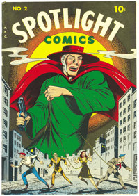 Spotlight Comics #2 Mile High pedigree (Chesler, 1945) Condition: VF/NM. Here's an impeccable Edgar Church copy of a bla...