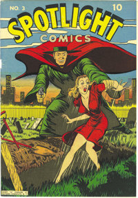"Spotlight Comics #3 Mile High pedigree (Chesler, 1945) Condition: VF+. The notorious ""injury-to-eye"" motif rea..."