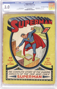 "Superman #1 Davis Crippen (""D"" Copy) pedigree (DC, 1939) CGC GD/VG 3.0 Cream to off-white pages. The one that..."
