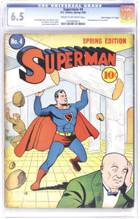 "Superman #4 Davis Crippen (""D"" Copy) pedigree (DC, 1940) CGC FN+ 6.5 Cream to off-white pages. Superman's numb..."