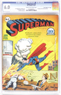 "Golden Age (1938-1955):Superhero, Superman #8 Davis Crippen (""D"" Copy) pedigree (DC, 1941) CGC FN 6.0 Cream to off-white pages. A Fred Ray cover graces this e..."