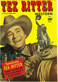 Tex Ritter Western #1 Mile High pedigree (Fawcett, 1950) Condition: NM-. This copy has white pages, and like quite a few...