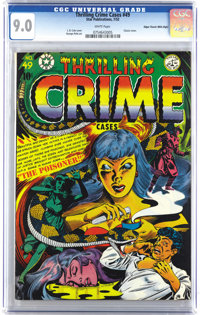 "Thrilling Crime Cases #49 Mile High pedigree (Star Publications, 1952) CGC VF/NM 9.0 White pages. ""Classic cover&qu..."
