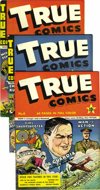 True Comics #6-10 Group - Mile High pedigree (True, 1941-42). American icons like Buffalo Bill and the World Series are...