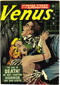 Venus #19 (Atlas, 1952) Condition: VF+. You have to admire the pluck of Venus -- in issue #1 she had handsome hunks vyin...