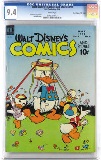 "Walt Disney's Comics and Stories #92 Davis Crippen (""D"" Copy) pedigree (Dell, 1948) CGC NM 9.4 White pages. Sp..."