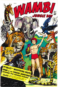 Wambi the Jungle Boy #4 Mile High pedigree (Fiction House, 1948) Condition: NM. Those brilliant Mile High colors rear th...