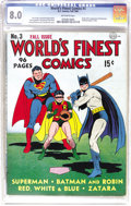 Golden Age (1938-1955):Superhero, World's Finest Comics #3 (DC, 1941) CGC VF 8.0 Off-white pages. This issue's Jack Burnley cover was the fourth time that the...