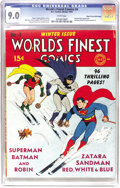 Golden Age (1938-1955):Superhero, World's Finest Comics #4 Mile High pedigree (DC, 1941) CGC VF/NM 9.0 White pages. As you can tell from the page quality, thi...