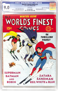 World's Finest Comics #4 Mile High pedigree (DC, 1941) CGC VF/NM 9.0 White pages. As you can tell from the page quality...