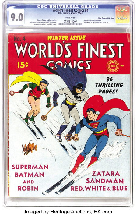 World's Finest Comics #4 Mile High pedigree (DC, 1941) CGC VF/NM 9.0 White pages. As you can tell from the page quality, thi...