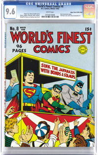 "World's Finest Comics #8 Mile High pedigree (DC, 1942) CGC NM+ 9.6 White pages. The Dynamic ""Trio"" supports th..."