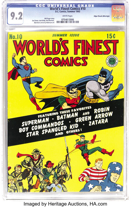 World's Finest Comics #10 Mile High pedigree (DC, 1943) CGC NM- 9.2 White pages. Hey, that wouldn't happen to be a Mile High...