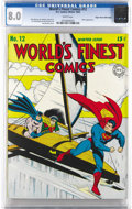 """Golden Age (1938-1955):Superhero, World's Finest Comics #12 Mile High pedigree (DC, 1943) CGC VF 8.0 White pages. """"White pages"""" have become synonymous with fe..."""