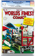 Golden Age (1938-1955):Superhero, World's Finest Comics #13 Mile High pedigree (DC, 1944) CGC NM- 9.2 White pages. As improbable as it seems, this isn't the t...