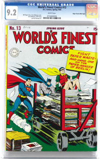World's Finest Comics #13 Mile High pedigree (DC, 1944) CGC NM- 9.2 White pages. As improbable as it seems, this isn't t...