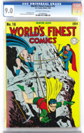 Golden Age (1938-1955):Superhero, World's Finest Comics #16 (DC, 1944) CGC VF/NM 9.0 Off-white to white pages. A big rock-in' cover by Jack Burnley gets this ...