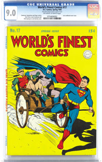 World's Finest Comics #17 (DC, 1945) CGC VF/NM 9.0 Off-white to white pages. Along with a Jack Burnley cover, a Dick Spr...