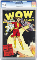 Golden Age (1938-1955):Superhero, Wow Comics #29 Mile High pedigree (Fawcett, 1944) CGC NM 9.4 White pages. It's unbelievable that a black cover book from 194...