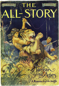 All-Story Oct 1912 (Munsey, 1912) Condition: Apparent FN. This is the first appearance of Tarzan in any medium! The impo...