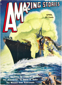 """Amazing Stories Group (Teck, 1931-33) Condition: Average FN/VF. This group of """"bedsheet"""" format pulps is in in..."""