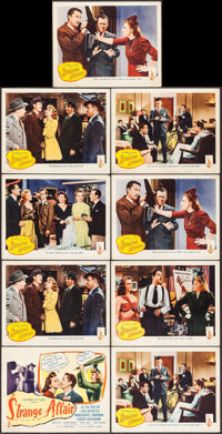 "Strange Affair (Columbia, 1944). Title Lobby Card & Lobby Cards (8) (11"" X 14""). Mystery. ... (Total: 9 It..."