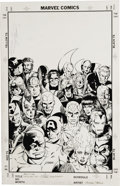 Original Comic Art:Covers, George Perez - Avengers: The Korvac Saga Trade Paperback Back Cover Original Art (Marvel, 1991). Drawn in the mid 1980s, thi...