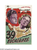"""Movie Posters:Hitchcock, The 39 Steps (Gaumont, R-1940s). Argentinian One Sheet (29"""" X 43"""").When a young lady on the run from spies is killed inside..."""