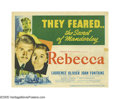 "Movie Posters:Hitchcock, Rebecca (United Artists, 1940). Title Lobby Card and Lobby Card(11"" X 14""). The screenplay for the film ""Rebecca"" was based... (2Items)"