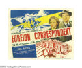 "Movie Posters:Hitchcock, Foreign Correspondent (United Artists, 1940). Title Lobby Card (11""X 14""). As war begins brewing in Europe, Alfred Hitchcoc..."