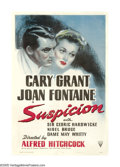 "Movie Posters:Hitchcock, Suspicion (RKO, 1941). One Sheet (27"" X 41""). Cary Grant romancesJoan Fontaine in this Alfred Hitchcock thriller, but as wi..."