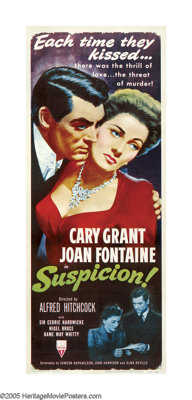 "Suspicion (RKO, R-1953). Insert (14"" X 36""). ""If you're going to kill someone, do it simply."" Alfred..."
