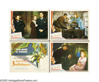 "Saboteur (Universal, 1942). Lobby Card (4) (11"" X 14""). When falsely accused of sabotage at an aircraft manufa..."