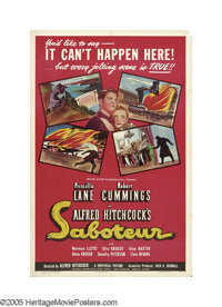 "Saboteur (Universal, 1942). One Sheet (27"" X 41"") Style D. Dorothy Parker is credited with working on the scri..."