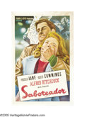 """Movie Posters:Mystery, Saboteur (Universal, 1942). Argentinian One Sheet (29"""" X 43"""").Director Alfred Hitchcock always had a dry sense of humor, so..."""