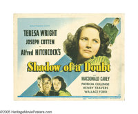 """Shadow of a Doubt (Universal, 1943). Title Lobby Card (11"""" X 14""""). Every family has an uncle whose latest misd..."""