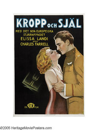 "Body and Soul (Fox, 1931). Swedish One Sheet (27"" X 39.5""). Romance and espionage fill the skies in this thril..."